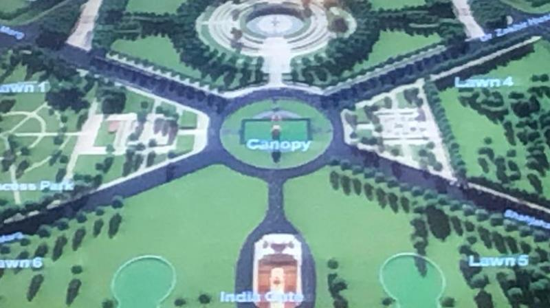 The outermost circle called Rakshak Chakra comprises rows of more than 600 dense trees with each tree representing many soldiers who guard the territorial integrity of the nation round-the-clock. (Photo: ANI)
