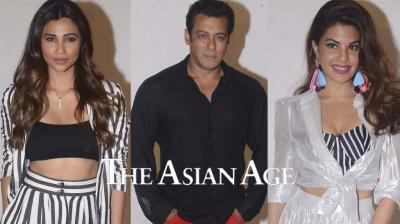 Daisy Shah, Salman Khan and Jacqueline Fernandez during 'Race 3' interviews.