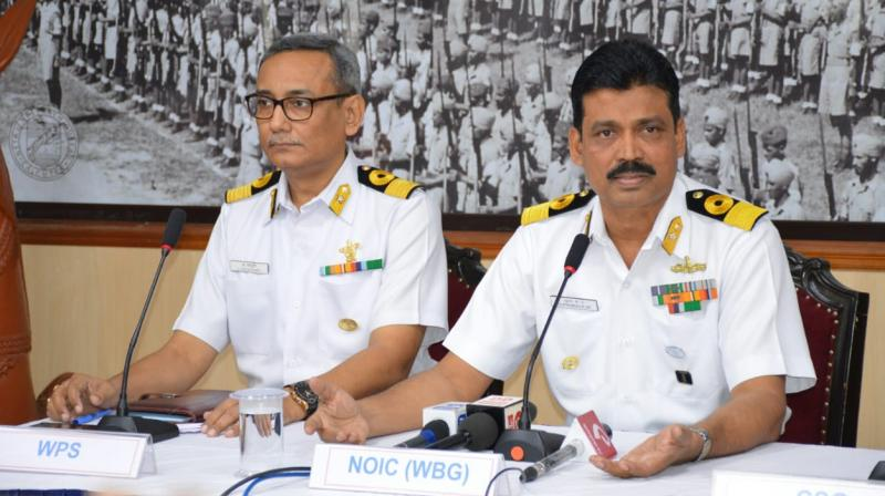 Naval Officer in Charge (West Bengal) Commodore Suprobho K De (right) speaks to media at INS Netaji Subhas on Tuesday. (Photo: File)