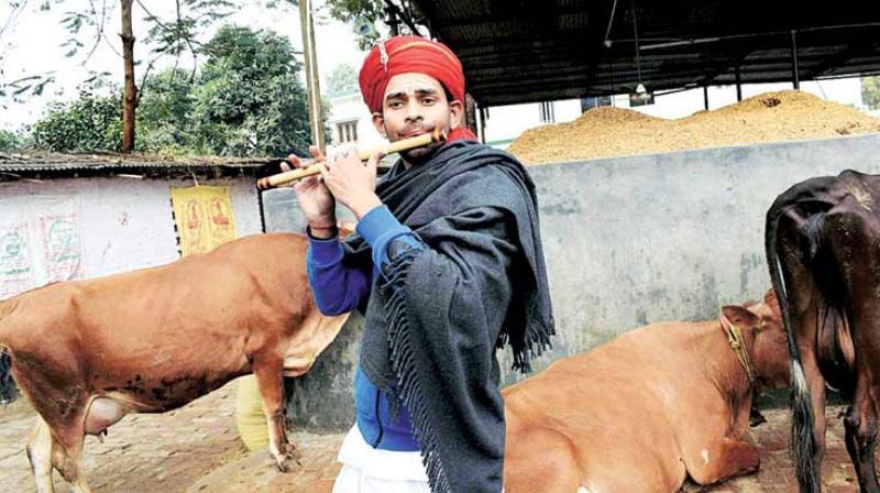 Lalu Prasad Yadav's son Tej Pratap Yadav on Sunday celebrated the New Year, donning Lord Krishna's avatar. (Photo: PTI)