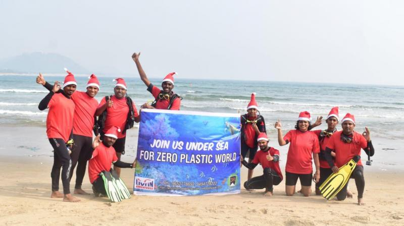 An ocean clean-up drive — at Rushikonda beach in Visakhapatnam city by Scuba divers of Livein Adventures