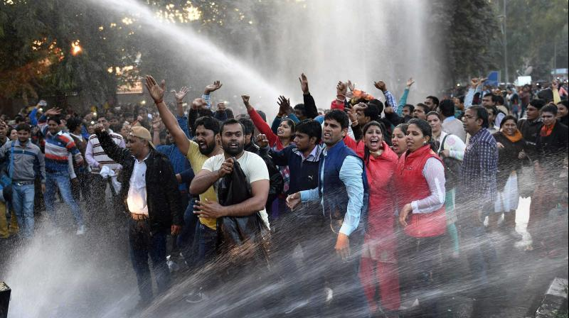 The protesters, who claimed to be aspirants, demanded holding of a competitive exam for all aspirants and not to give special treatment to guest teachers.(Photo: PTI)