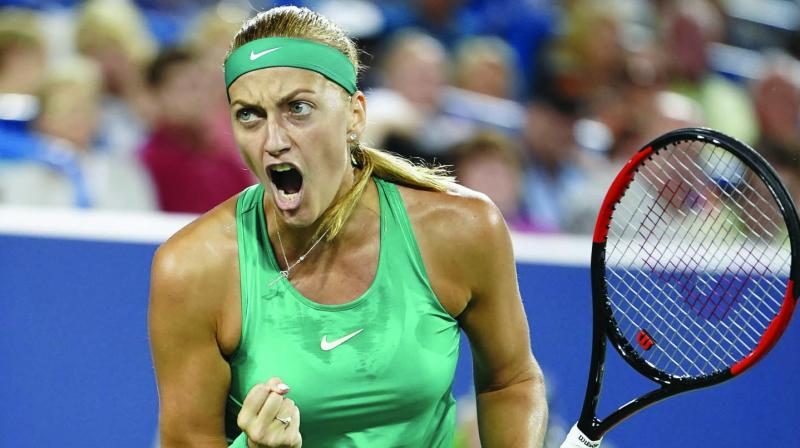 Petra Kvitova of the Czech Republic reacts in her Western & Southern Open match against Serena Williams in Mason on Tuesday. Kvitova won 3-6, 6-2, 3-6 (Photo:  AP)