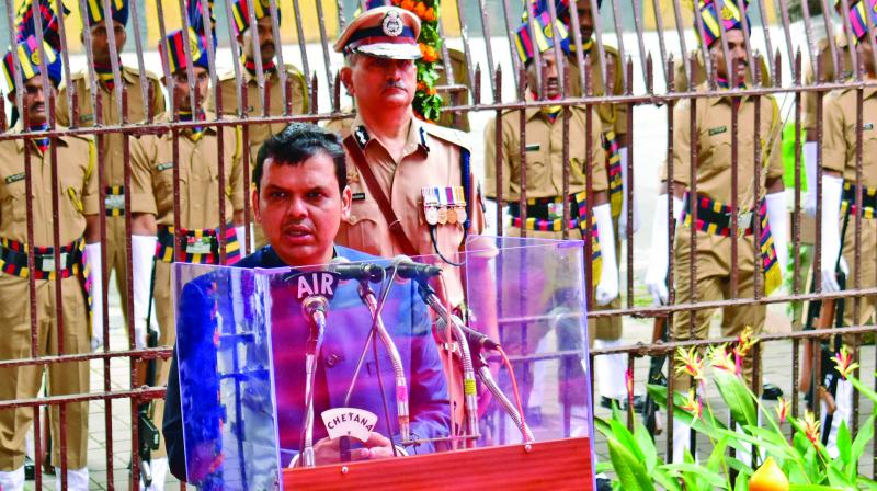 Chief minister Devendra Fadnavis during his speech at Mantralaya after hoisting the national flag on Wednesday. (Photo: Debasish Dey)
