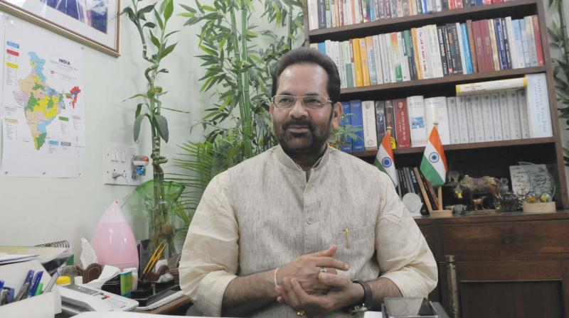Union Minister Mukhtar Abbas Naqvi on Sunday said that the Congress had formed the government with 'jugaad' which now appears to be demolishing itself due to internal conflicts. (Photo: File)