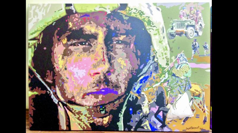 Soldier: One of artworks by artist Fawad Tamkanat on display at the exhibition