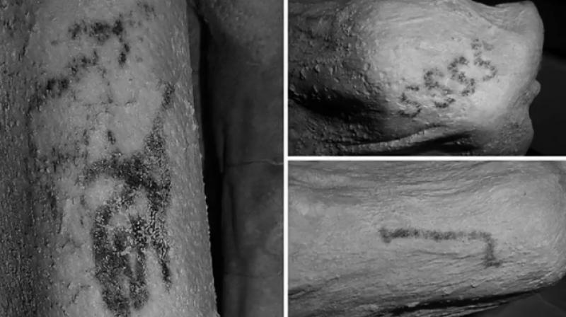 The artworks appeared as dark smudges in natural light but researchers at the British Museum and Oxford University's Faculty of Oriental Studies found the tattoos in 2017 with infrared photography.