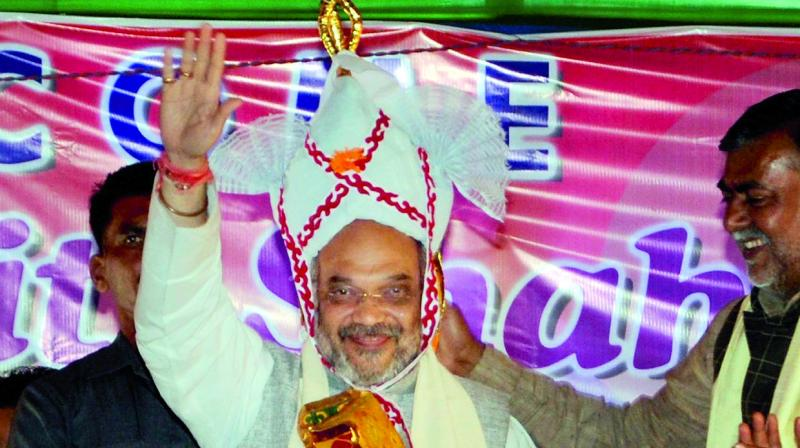 BJP president Amit Shah at an election rally at Singjamei in Manipur. (Photo: PTI)