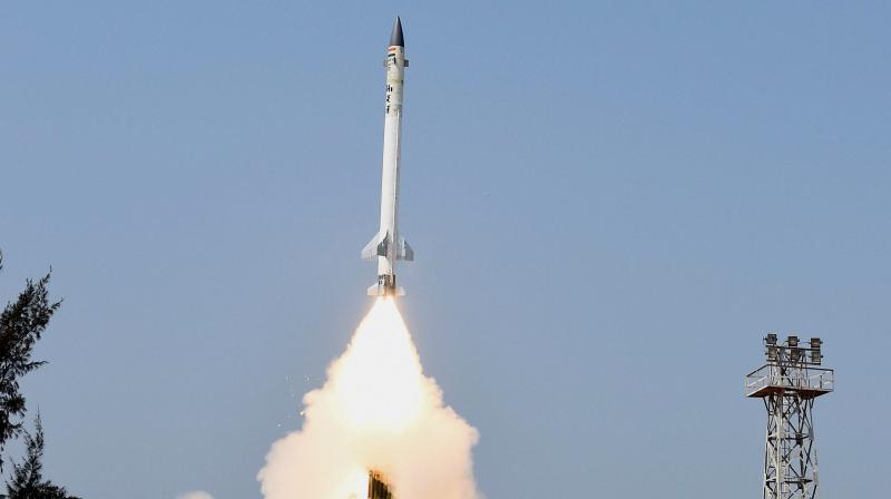 The Advanced Air Defence interceptor missile is fired from Abdul Kalam Island, off Odisha coast.