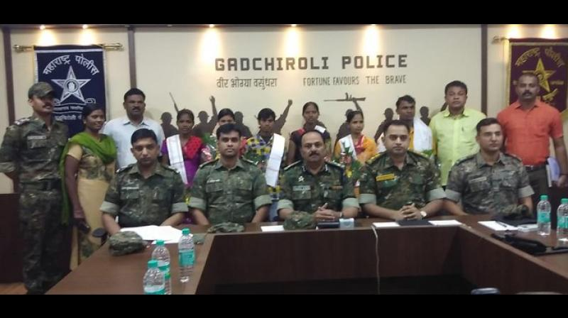 Besides, five women Naxals, all carrying cash rewards in the range of Rs 5 lakh to Rs 5.5 lakh, also turned themselves in before the police. (Photo: Twitter)