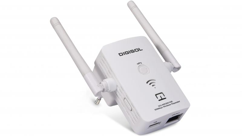 The Digisol 300 MBPS Wireless Repeater Model DG-WR3001NE, is the latest and most powerful in this company's range of Wi-Fi repeaters.