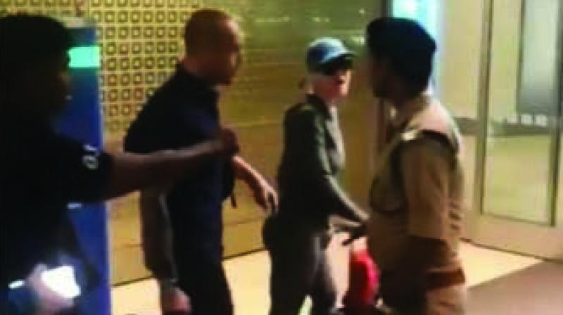 The singer was seen brisking past the security, despite the security personnel stopping her and her team several times.