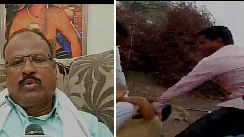 Congress MLA Abdul Sattar Abdul Nabi (L) beating up a farmer along with his supporters. (Photo: ANITwitter)