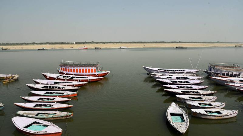 Boats anchored on the shores of the Ganga in Varanasi. The pilgrimage town has witnessed dwindling of tourism in the past two months due to the coronavirus pandemic. (PTI)