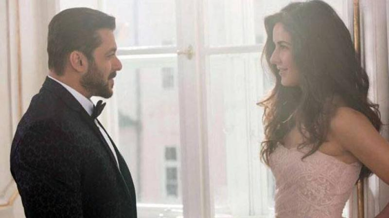 Salman Khan and Katrina Kaif on the sets of the film.