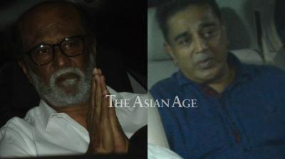 Rajinikanth and Kamal Haasan snapped on their way to Anil Kapoor's residence on Monday. (Photo: Viral Bhayani)