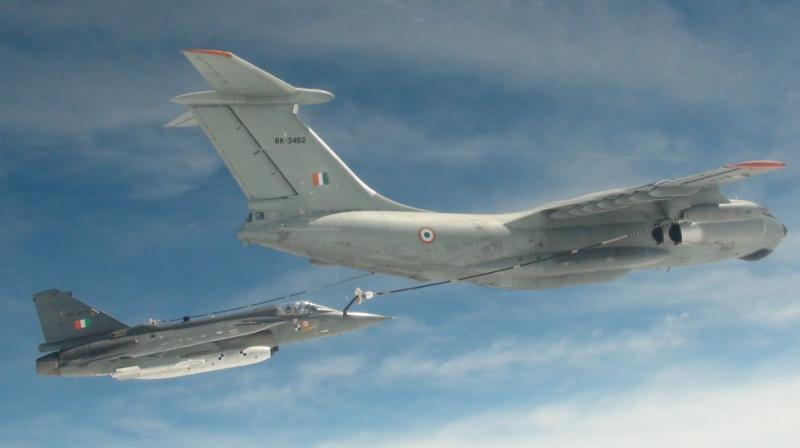 The first ever mid-air refuelling of the indigenously developed light combat aircraft Tejas was successfully carried out on Monday, Hindustan Aeronautics Ltd (HAL) said. (Photo: Twitter | @DefenceMinIndia)