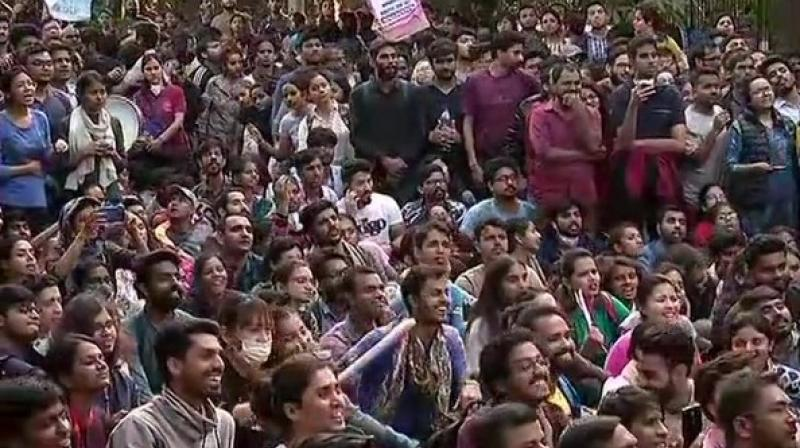Around 100 students were detained for allegedly 'showing aggressive defiance' to the directions of the police during their protest. (Photo: ANI)