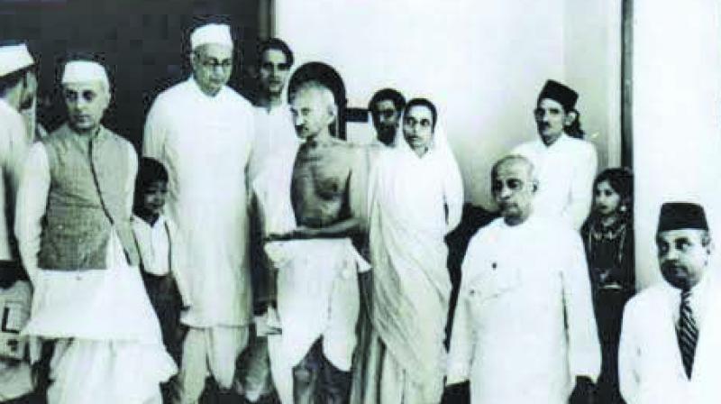 Mahatma Gandhi with Pandit Jawaharlal Nehru and Sardar Vallabhbhai Patel