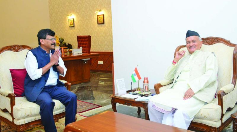 Sanjay Raut meets govenor Bhagat Singh Koshyari on Monday. (Photo: AA)