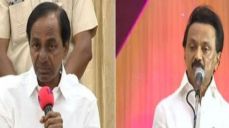 Telangana Rashtra Samiti (TRS) chief and Telangana Chief Minister K Chandrashekhar Rao is set to meet Dravida Munnetra Kazhagam (DMK) president MK Stalin here on Monday. (Photo: ANI)