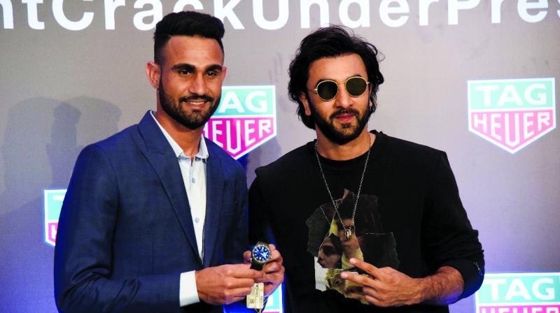 Amrinder with Mumbai City FC team co-owner Ranbir Kapoor.