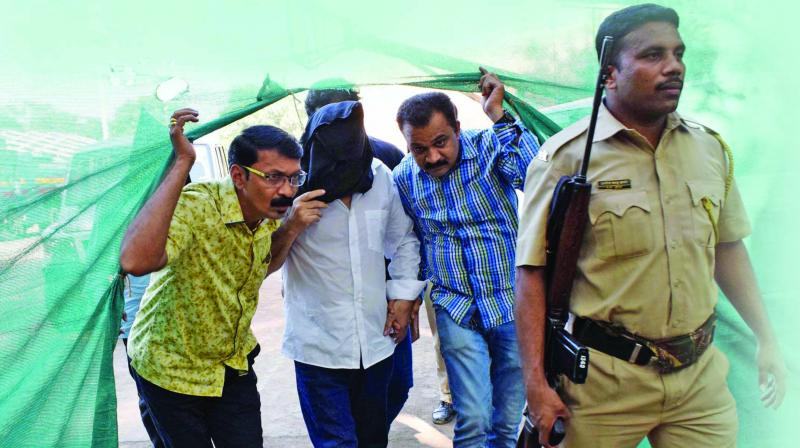 Kaskar being brought to the court for hearing of the case. (Photo: Deepak Kurkunde)