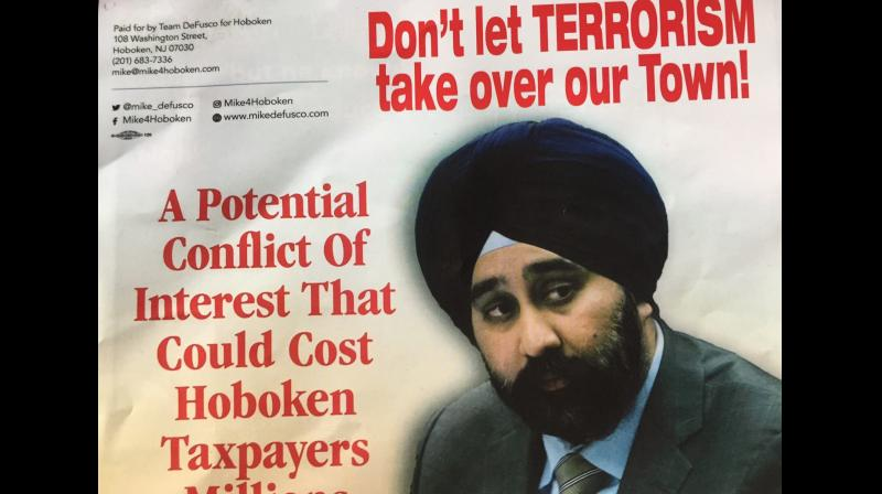 They have a photo of New Jersey Councilman Bhalla. In red letters above him, the flyers read: 'Don't let terrorism take over our Town!' it added. (Photo: Twitter/@RaviBhalla)