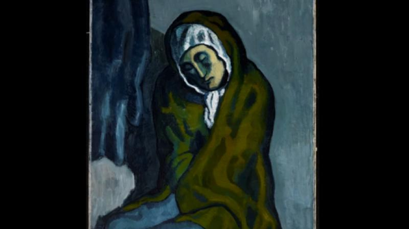 "The 1902 oil painting ""La Misereuse accroupie"" (The Crouching Woman) is a major work from the Picasso's Blue Period. (Photo: Youtube/Emeline Pouyet)"