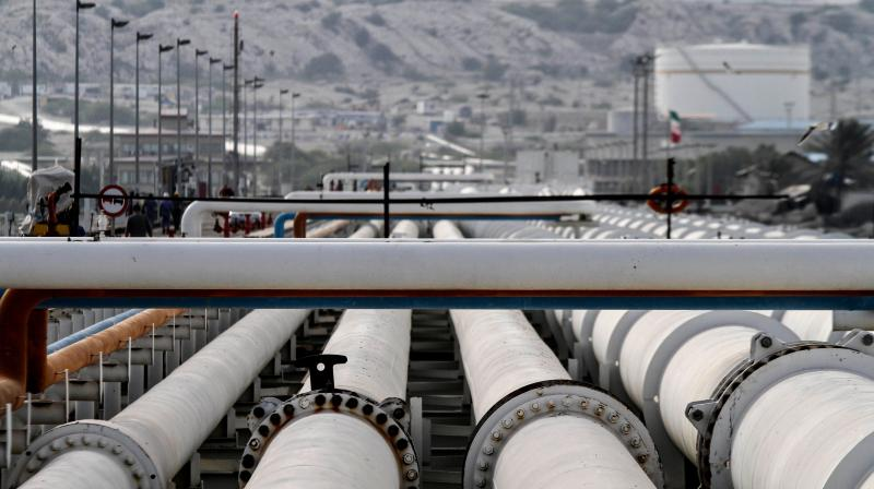 A picture shows export oil pipelines at an oil facility in the Khark Island, on the shore of the Gulf. (AFP Photo)