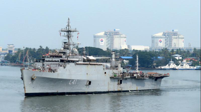 INS Jalashwa berthed at Kochi port on Sunday. (DC Photo)