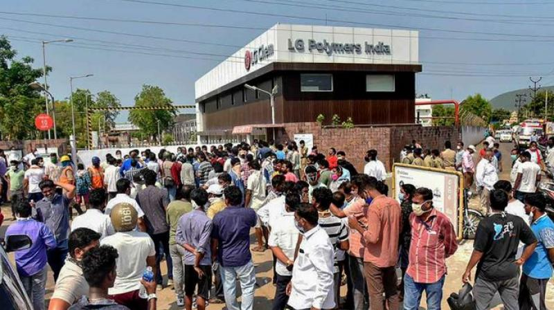 Villagers placed the bodies of three victims of a deadly gas leak from an LG Polymers plant in Andhra Pradesh. (PTI Photo)