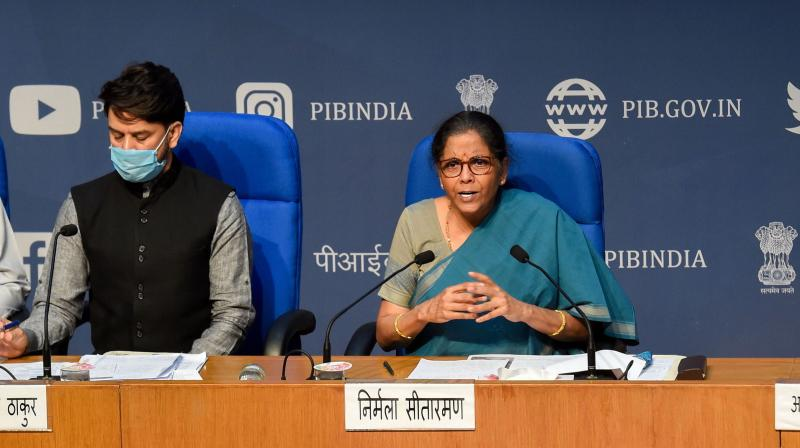 Centre increased borrowing limit for states from three to five per cent for 2020-21 only, Union Finance Minister Nirmala Sitharaman announced on Sunday. (PTI Photo)