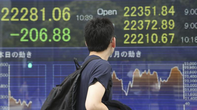 Asian shares make cautious gains; oil, gold prices hit record levels as more countries reopen their economies. (AP Photo)