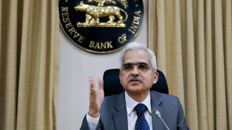 RBI Guv Shaktikanta Das address press after govt's relief package. (PTI Photo)