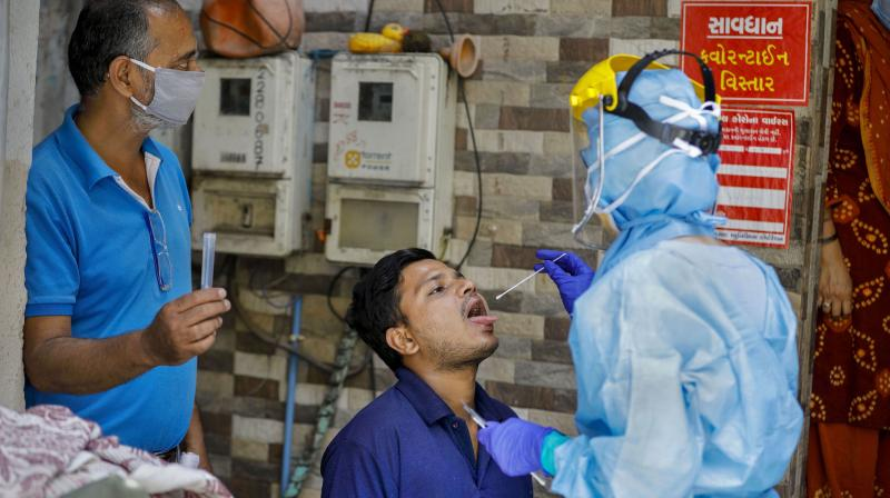 Record 6,977 new COVID-19 cases in India in last 24 hours. (PTI Photo)