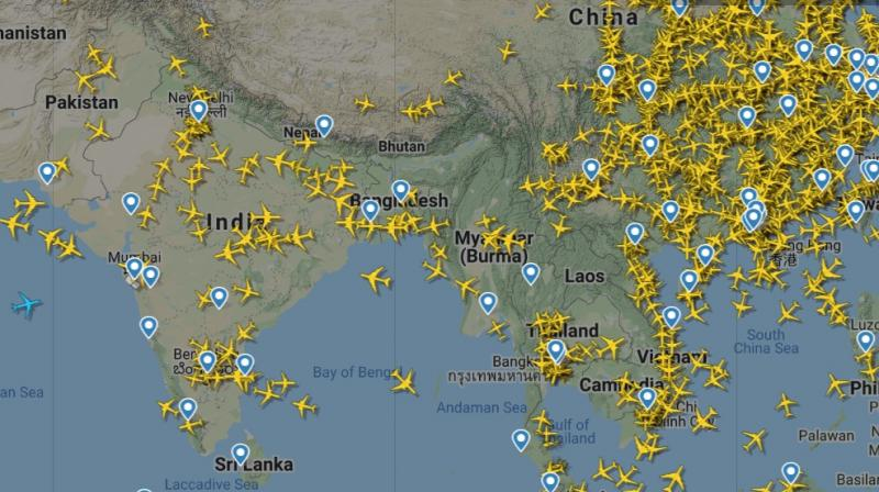 The aviation map of India as seen on the live flight tracker Flight Radar24 at 8 am on Tuesday.