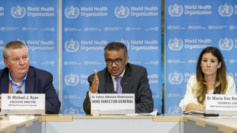 Tedros Adhanom Ghebreyesus, director general of the World Health Organization speaks during a news conference on updates regarding on the novel coronavirus COVID-19, at the WHO headquarters in Geneva, Switzerland. (Photo- AP)