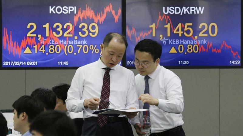 Asian stocks set to gain as stimulus hopes support risk appetite. (AFP Photo)