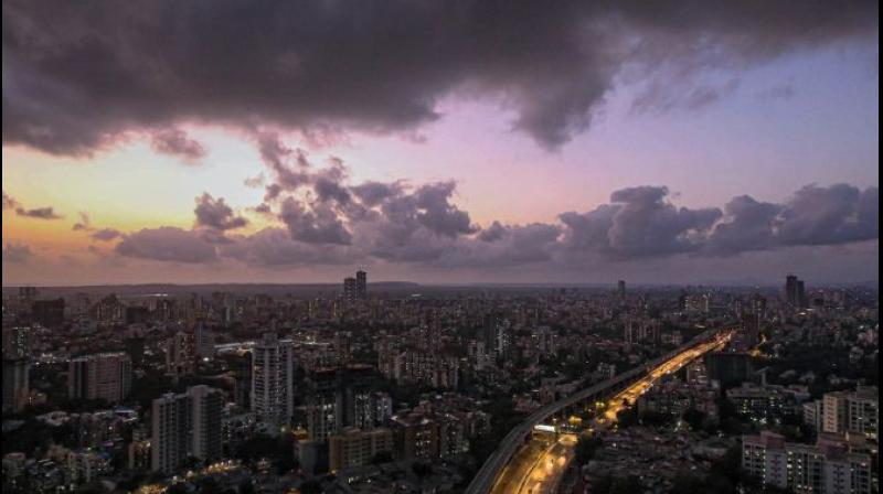 Dark clouds gather in the sky over Mumbai ahead of cyclone Nisarga, in Mumbai on June 2, 2020. (PTI Photo)