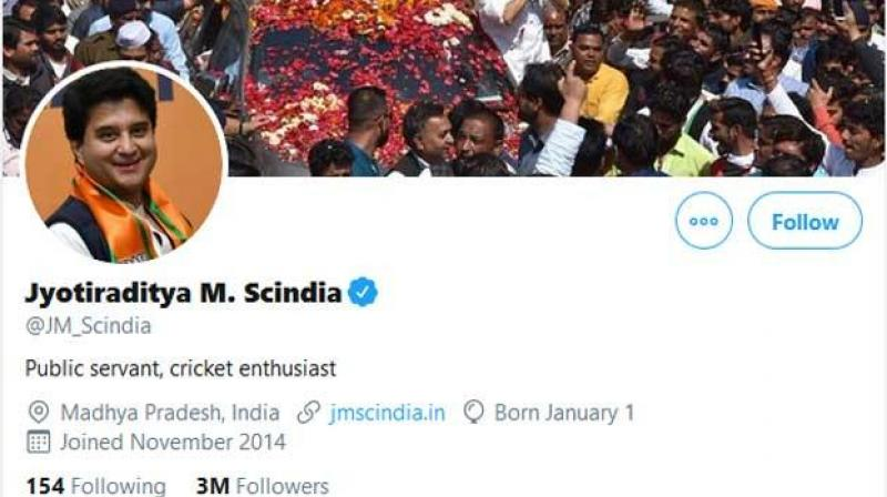 Jyotiraditya Scindia twitter bio went viral in social media triggering speculations that he deleted 'BJP' from his profile. (Photo- Scindia Twitter)