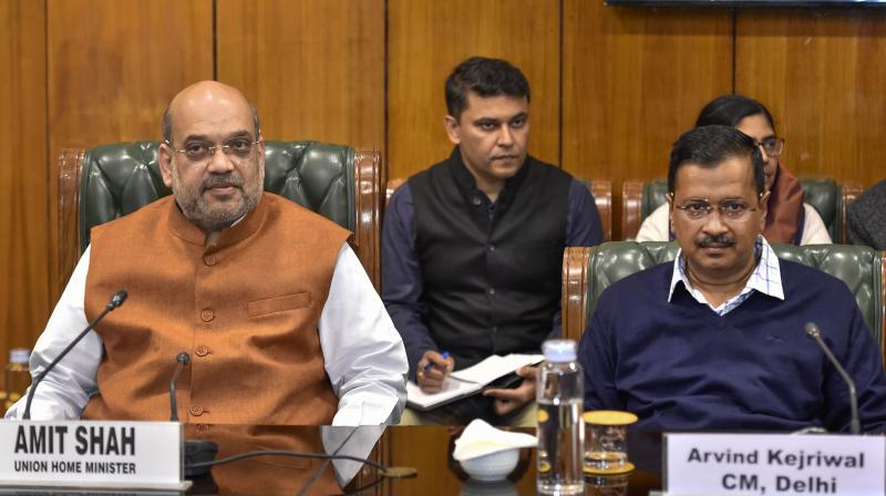 Union Home Minister Amit Shah on Sunday held a meeting with Lieutenant Governor Anil Baijal, Chief Minister Arvind Kejriwal and others. (PTI Photo)