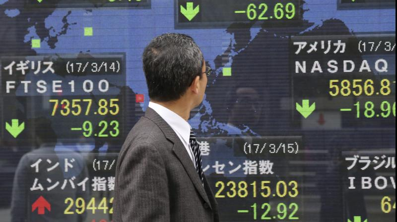 Asian shares jump, yields rise as Fed readies corp bond buying. (AFP Photo)