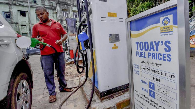 Petrol price on Wednesday was hiked by 55 paise per litre and diesel by 60 paise a litre. (PTI Photo)