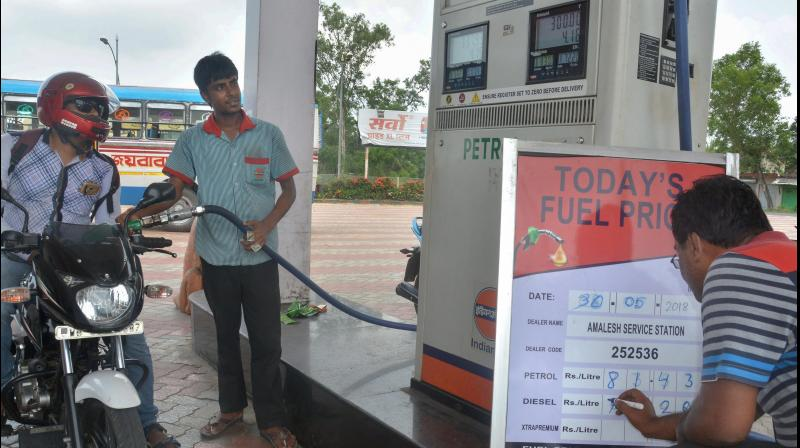 Petrol price on Thursday was hiked by 53 paise per litre and diesel by 64 paise a litre. (PTI Photo)