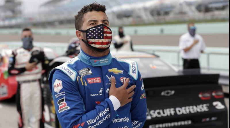 NASCAR has launched an investigation after a noose was found in the garage stall of Bubba Wallace. (AP Photo)
