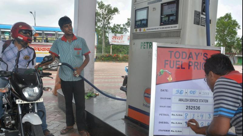 After 21 days of continuous hike, petrol and diesel prices stable today. (PTI Photo)