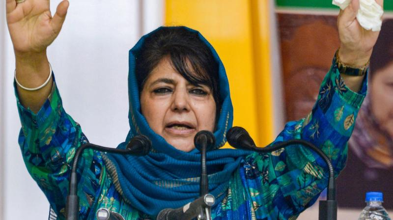 Former Jammu and Kashmir chief minister and Peoples Democratic Party (PDP) Chief Mehbooba Mufti addresses a public rally. (PTI File)