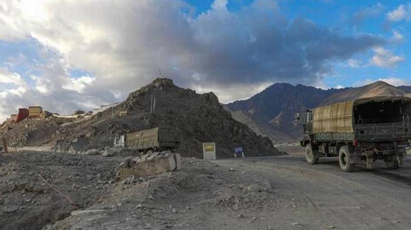 Army vehicles moving towards Line of Actual Control (LAC) amid border tension with China, in Leh. (PTI)