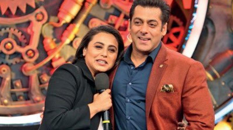 Rani Mukerji with Salman Khan on 'Bigg Boss 11' sets.